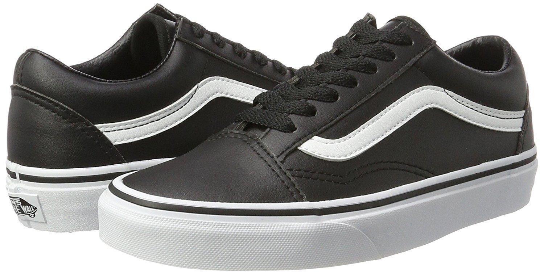 4f9dec45736 Vans Unisex Old Skool Premium Leather Skate Skate Skate Shoes Black True  White Men s 11
