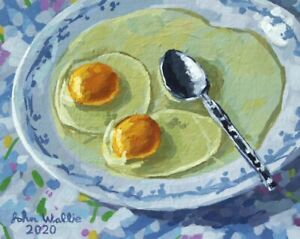 "Original Still Life Painting -""Two Raw Eggs on Plate"" (8x10 inch) by John Wallie"