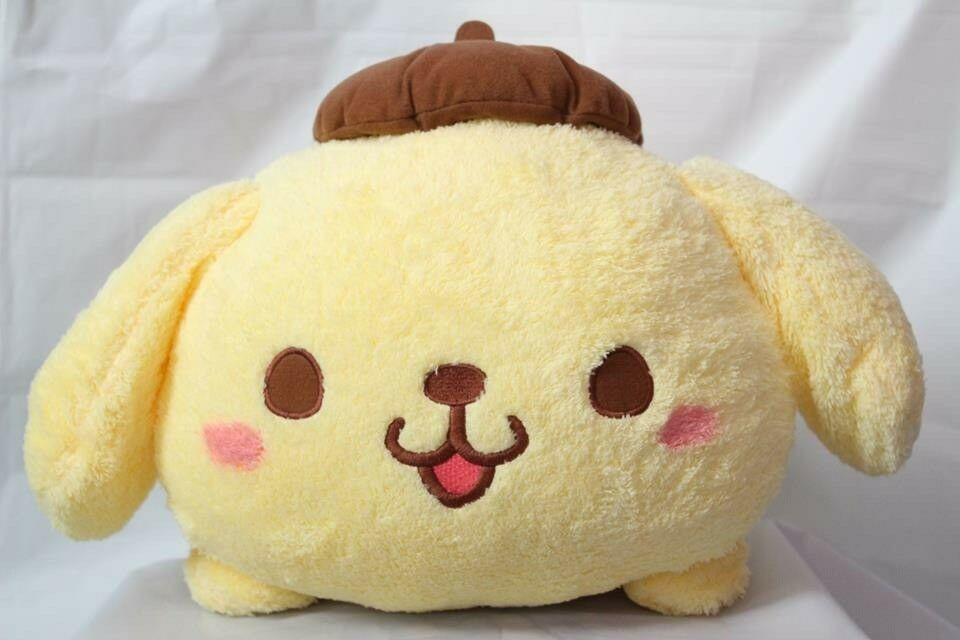 Pompompurin Cute Laying Down Sanrio Character With Bow Tie Big  Soft toy Plush