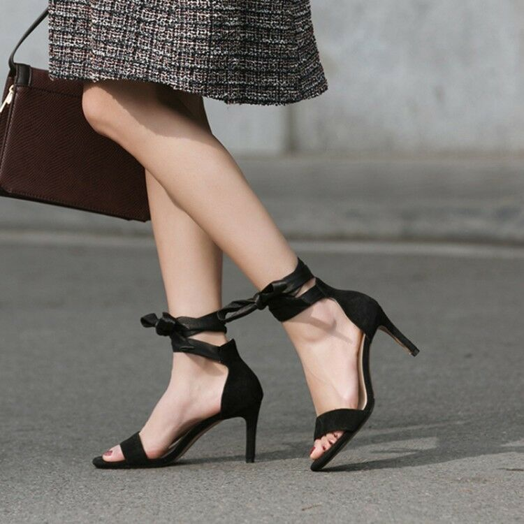 Wouomo Strappy Stiletto High Heels Peep Toe Suede Sandals Casual Lace Ups scarpe