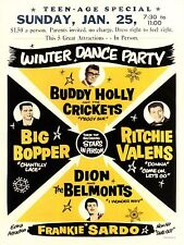 """Buddy Holly Winter Dance Party 16 x 12"""" Photo Repro Concert Poster"""