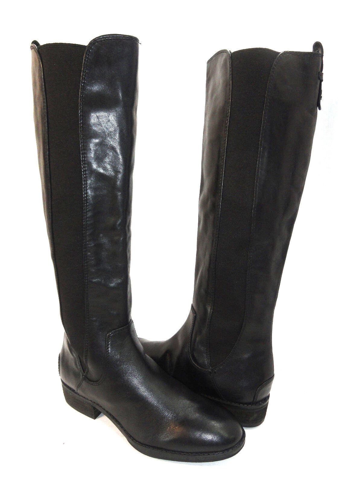 Sam Edelman Women's Rarodox Knee High Black Leather Stretch Riding Boots Size 6