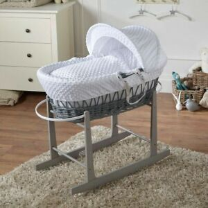 White-Dimple-Grey-Wicker-Moses-Basket-And-Grey-Rocking-Stand