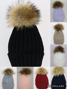 37a59129ec8 WARM THICK Women Real Fur Pom Pom Hat Ladies Winter Raccoon Beanie ...