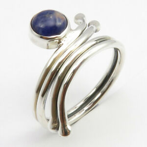 925-Solid-Silver-Gemstone-Handmade-Jewelry-Natural-Sodalite-Ring-Size-9