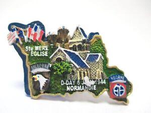 St-Mere-Eglise-Normandie-D-Day-3D-Poly-Fridge-Magnet-Souvenir-France