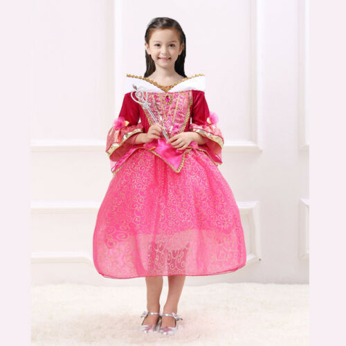 Kid Girls Aurora Dress Cosplay Xmas Party Princess Costume Halloween Fancy Dress