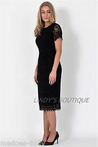 Womens-Ladies-black-Dress-Lace-floral-Sizes-8-14-John-Zack