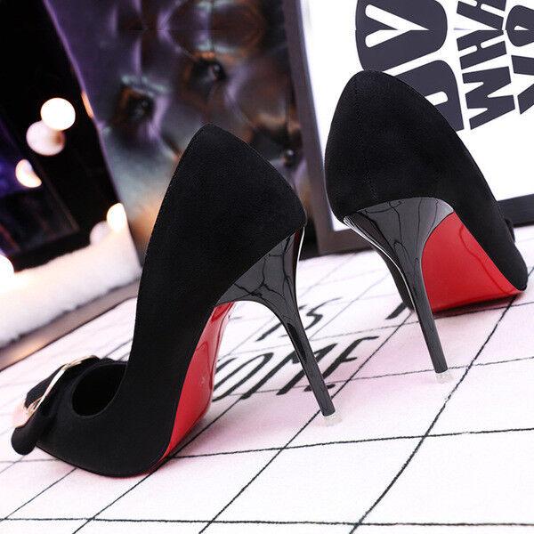 Zapatos de salón mujer 10 cm elegantes tacón aguja negro piel insertar como piel negro 9643 916a9c