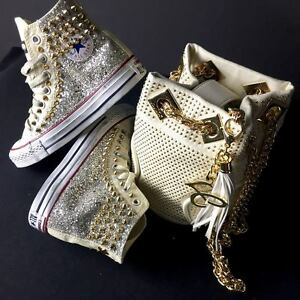 Converse Beige personalizzate tessuto Glitter Argento borchie oro effetto sporco