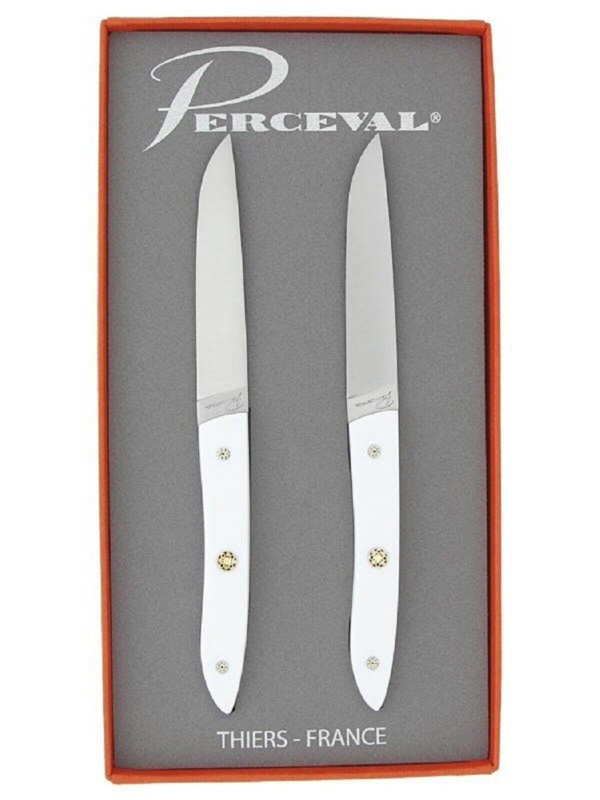 Coffret cadeau 2 couteaux de table ATELIER PERCEVAL gamme ADRET manche Corian