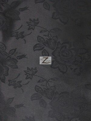 "FLORAL ROSE JACQUARD SATIN FABRIC - Black - 60"" WIDTH SOLD BY THE YARD"