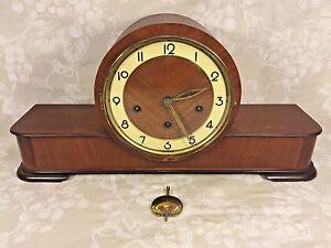 Vintage-German-Wood-Case-Mantel-Clock-by-Forestville-Westminster-Chimes-Runs