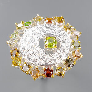 Peridot Ring Silver 925 Sterling Unique Jewelry SET Size 8.5 /R149000