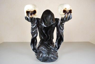 Ernst Tod Mit 2 Teelichtern Groß Skelett Grim Reaper Gothic Figur Deko