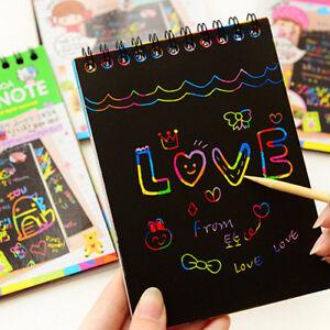 Kids-Rainbow-Scratch-Art-Kit-Magic-Drawing-Painting-Paper-Notebook-Children-Gift