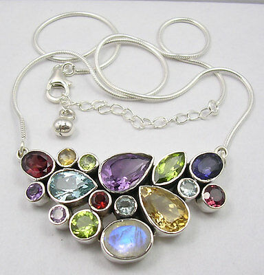 925 Solid Sterling Silver Multi Colour Gemstone Necklace