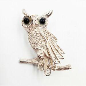 Vintage-Signed-Germany-Sterling-Silver-Filigree-Owl-Pin-Brooch-Black-Eyes