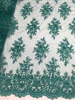 Teal Marvelous Design Embroider And Beaded On A Mesh Lace -yard