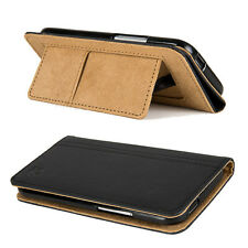 Black VanGoddy PU Leather Self Stand Mary Case Slim Cover Holder for HTC One M8