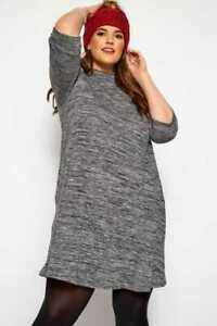 Yours Clothing Women/'s Plus Size Red Marl Turtleneck Dress