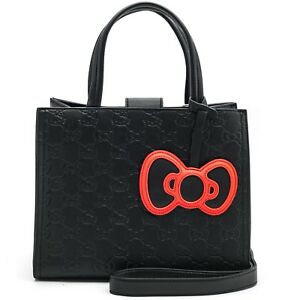 9459a0560536 Image is loading Hello-Kitty-Purse-Tote-Satchel-Loungefly-Black-Quilted-