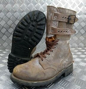 Genuine French Foreign Legion Brown Leather / Suede Army Boots EU41 Faulty FB004