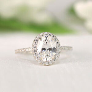 2.50 Ct Oval Real Moissanite Engagement Wedding Ring 18K Solid White Gold Size 9