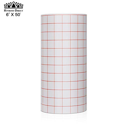 Vinyl Transfer Paper Tape Roll 6x50 Feet w/Red Alignment Gri