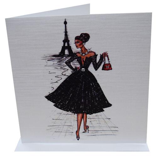 Ladies Birthday Card Girl Woman Paris Red Quality Crystal Birthday Card Elegant