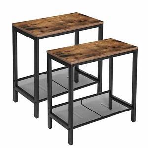 HOOBRO Beistelltisch Nachttisch 2er Set Sofatisch für kleine Räume Industriestil