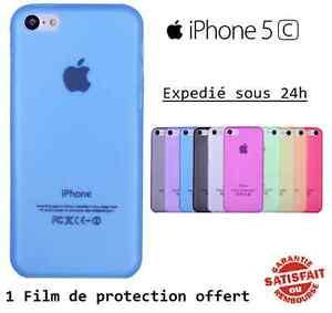 Coque-etui-housse-IPhone-5C-silicone-gel-Couleurs-au-choix-Film-protecteur