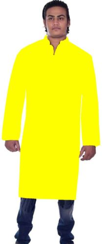"Mans 100/% Cotton Shirt Indian Tunic Kurta Plus Size Yellow Solid Plain L-42/"""