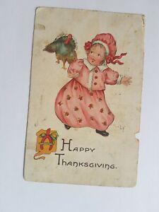 Greeting-Postcard-Vintage-Happy-Thanksgiving-Girl-Child