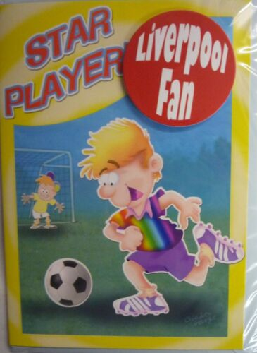 Liverpool Football Fan Birthday Card /& Sticker Badge Star Player//Mega Striker