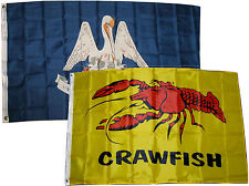 3x5 3'x5' Wholesale Combo Set State Louisiana & Crawfish Seafood 2 Flags Flag