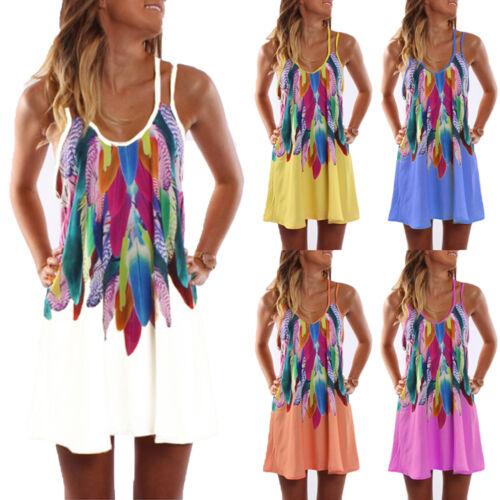 Damen Strandkleid Boho Blumen Kleider Sommerkleid Minikleid Ärmellos Träger Top