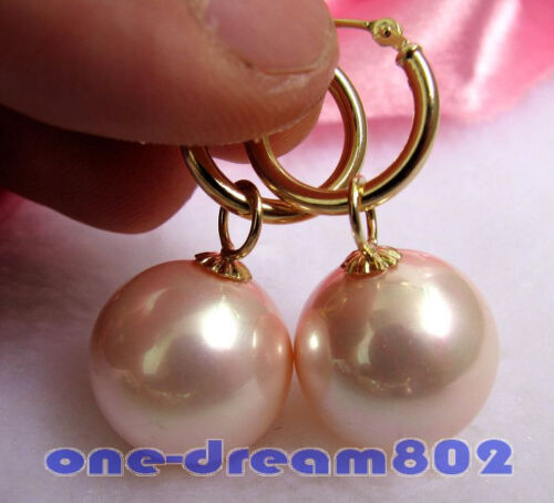 16 mm rond rose South Sea Shell Perle Dangle Boucle d/'oreille