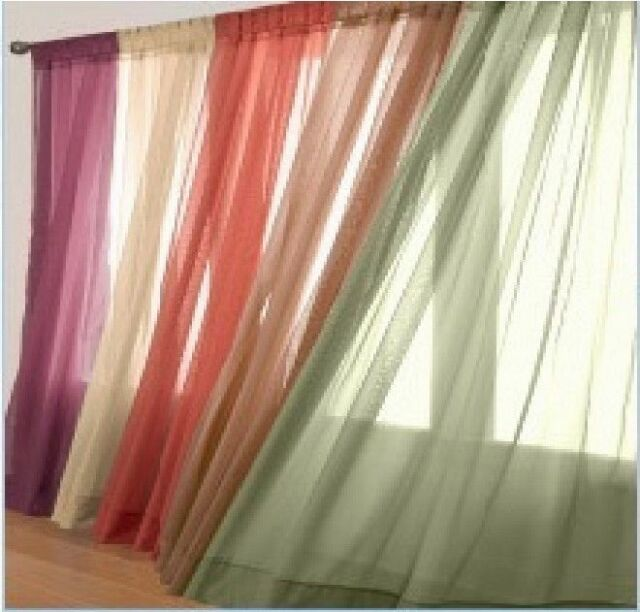 "6 Pcs. Sheer Voile Window Panel curtains 63 84 95"" OR 1 valance (Scarf 37""X216"")"