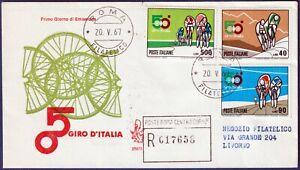 1967-FDC-Venetia-50-Giro-d-039-Italia-n-250It-Viaggiata-per-raccomandata