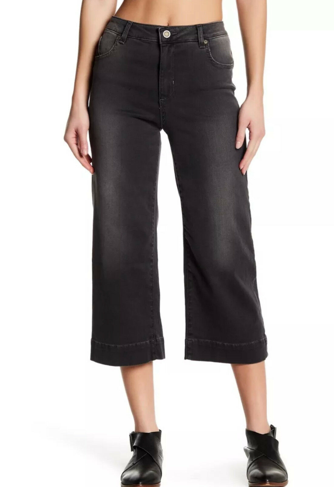 Fine by Superfine Shiver Wide Leg Cropped Denim Jeans, Zip fly, Size 24  248 NWT