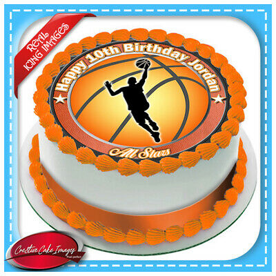 Super Basketball Edible Icing Image Cake Topper Personalised Birthday Funny Birthday Cards Online Aeocydamsfinfo