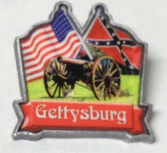 GETTYSBURG CROSSED FLAGS HEAVY METAL CIVIL WAR LAPEL PIN NEW