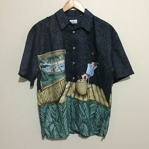 Target-Cocktail-Hawaiian-Beach-Vintage-90-039-s-Style-Button-Shirt-Mens-Medium-97cm