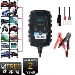 Caricabatterie-Mantenitore-Batteria-6V-12V-1A-Con-Cavetti-Per-Auto-e-Moto