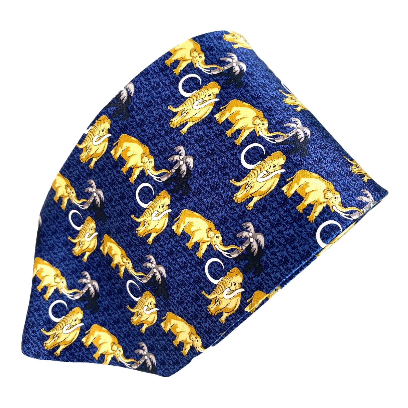 Como House Gold Elefanten Grau Palm Bäume Dunkelblau Seide Krawatte