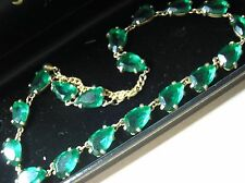 Vintage 1950's Emerald Green Open Back Rhinestone Necklace - signed Sphynx