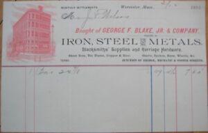 Worcester-MA-1893-Letterhead-Iron-Steel-Blacksmith-Supply-Massachusetts-Mass
