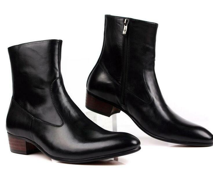 Men's Ankle Boots Real Leather Zip Pointy Toe Low Cuban Heels Dress Casual Shoes