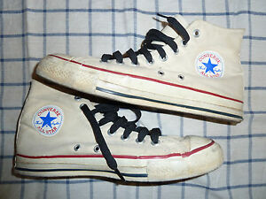 Vintage CONVERSE All Star MADE in USA 8.5 Chuck Taylor HI TOPS White EUR 42